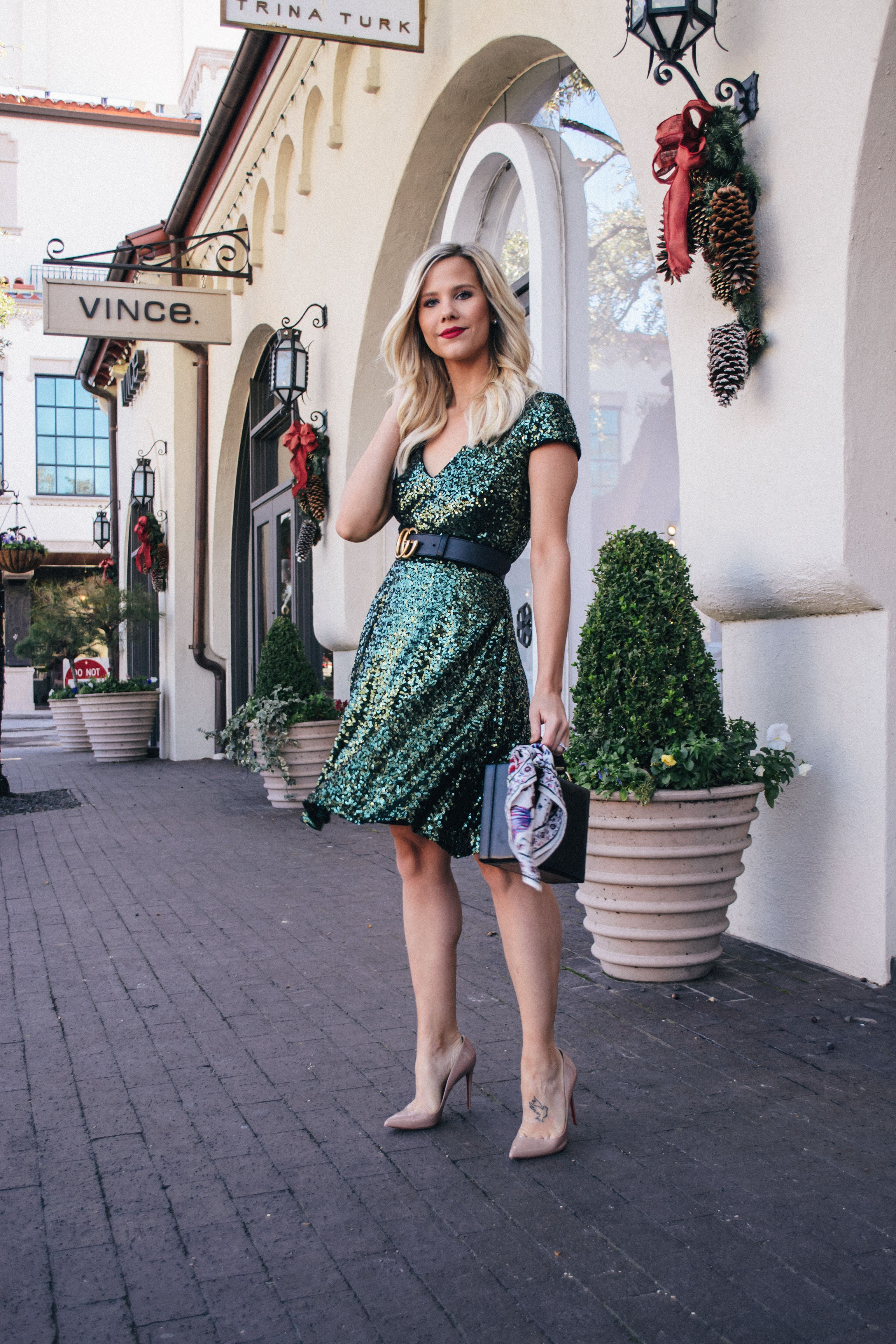 Merry Christmas New years eve dresses, Green sequin