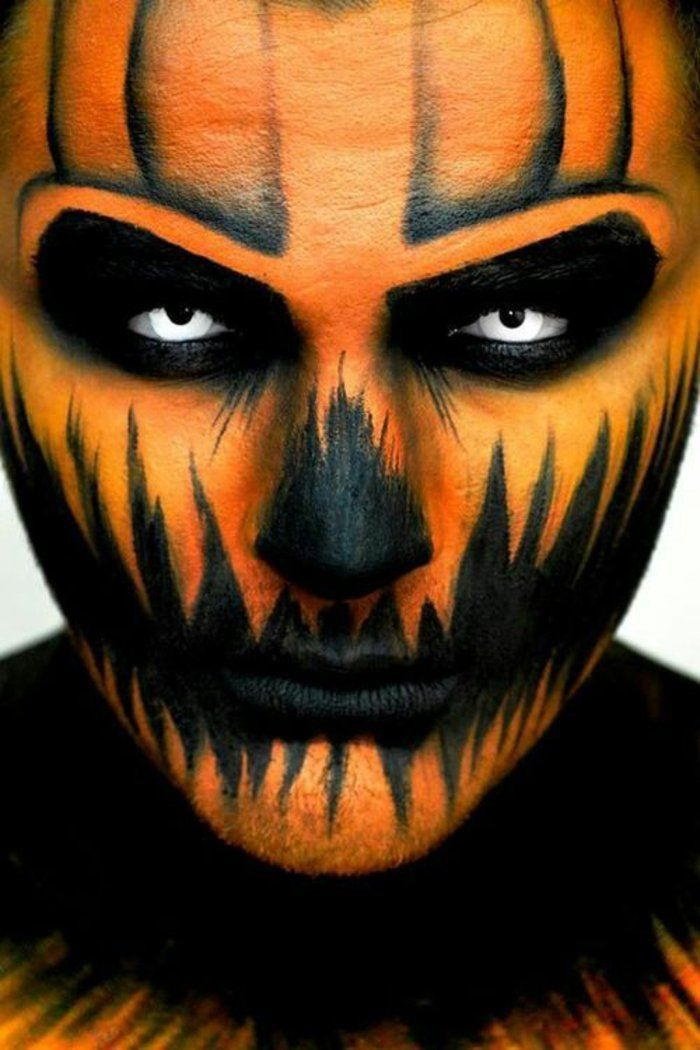 Kürbis Gesicht Malen schminkideen für ein grauen erregendes männergesicht