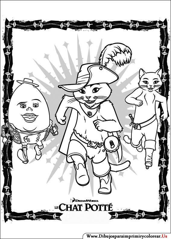 Dibujos de El Gato con botas para Imprimir y Colorear | infantil ...