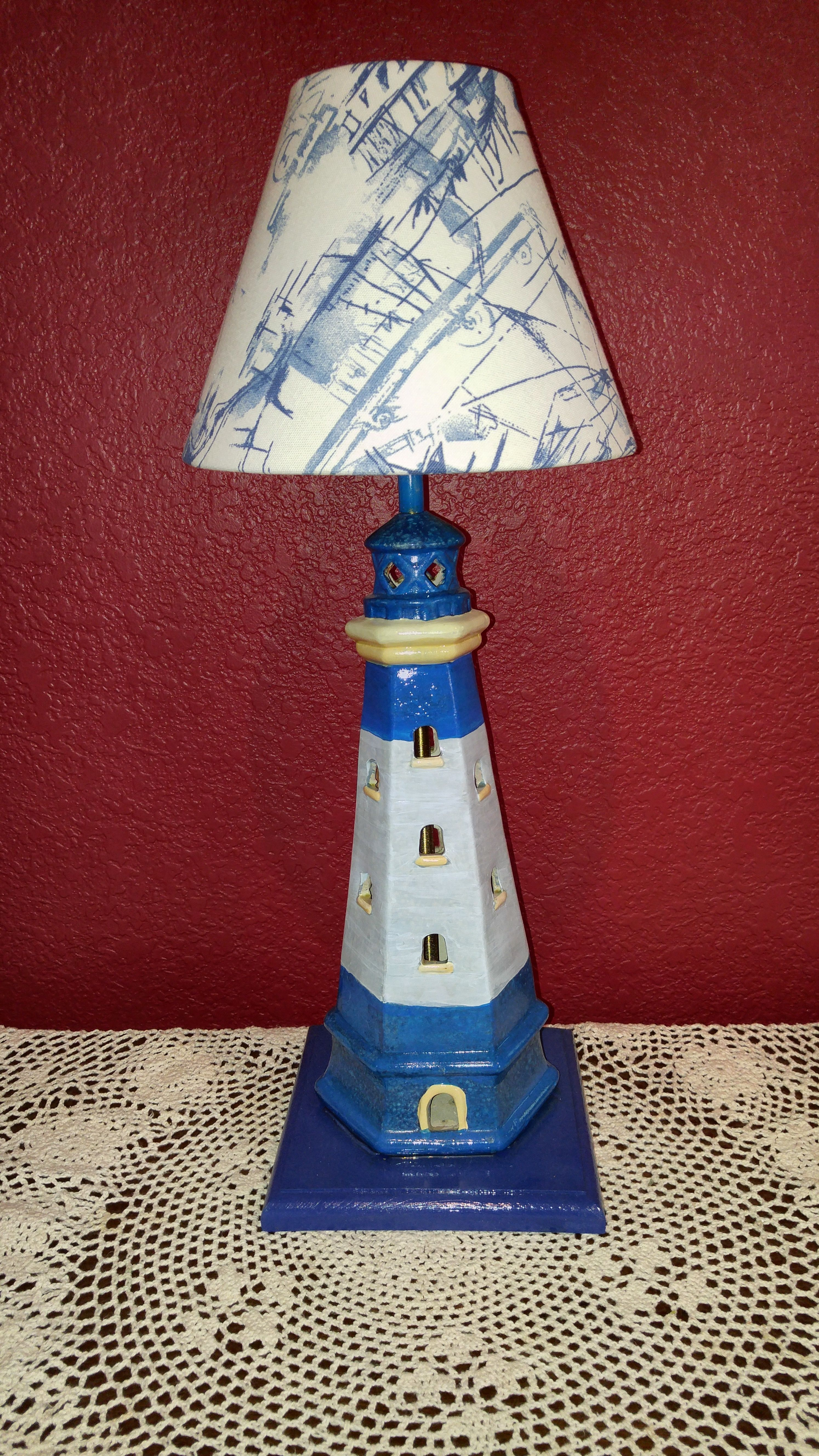 Shade of blue ceramic lighthouse lamp with blue and white navigation shade of blue ceramic lighthouse lamp with blue and white navigation lamp shade lamp for aloadofball Images