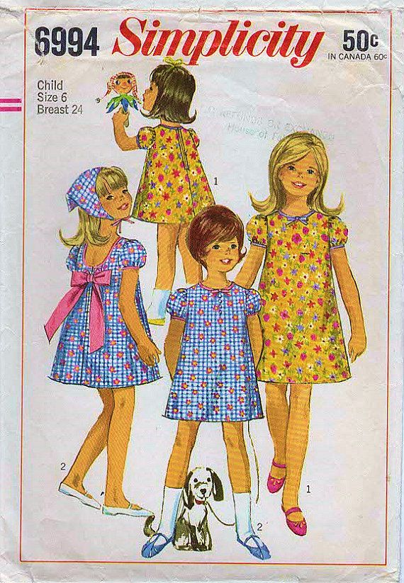 1960s Simplicity 6994 Vintage Sewing Pattern Girls Trapeze Dress, A ...