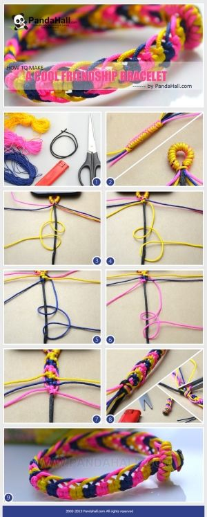 How to make a cool friendship bracelet out of seven cord strands by wanting