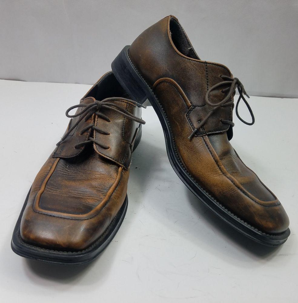 Bassrome oxfords brown rustic square toe dress casual