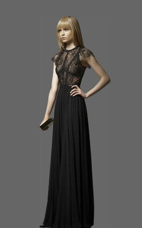 Elie Saab Terra Short Sleeve Classic Long BCBG Dress Black [Elie ...