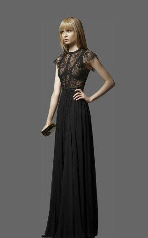 Elie Saab Terra Short Sleeve Classic Long BCBG Dress Black [Elie ...