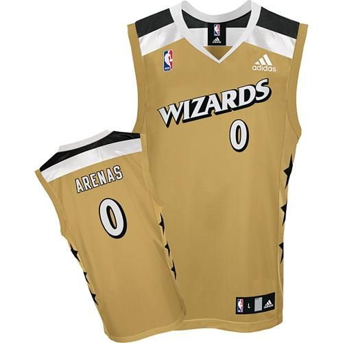 887a724e3 Adidas Washington Wizards 0 Gilbert Arenas Gold Alternate NBA Jerseys