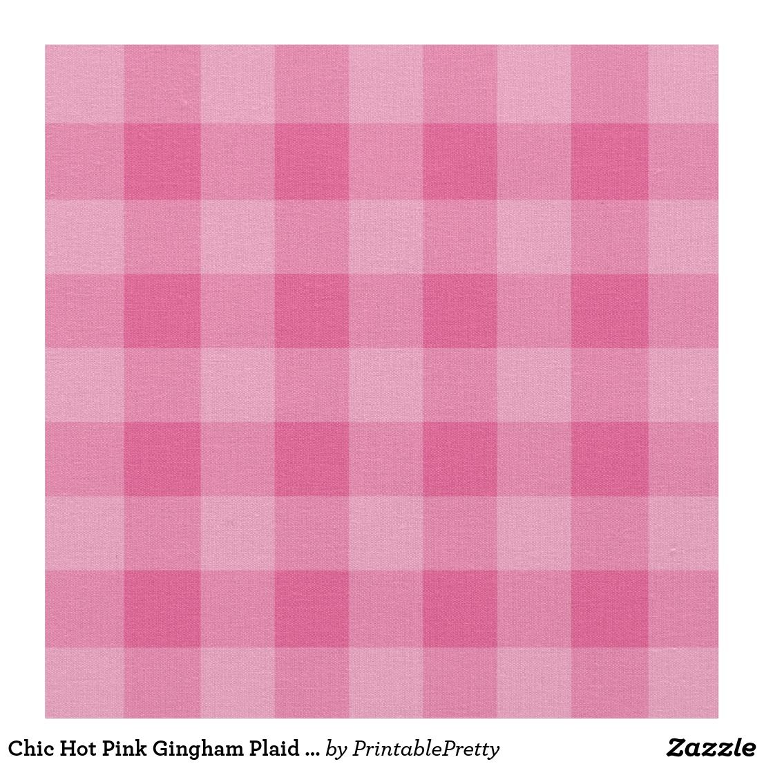 Chic Hot Pink Gingham Plaid Pattern Fabric Fabric
