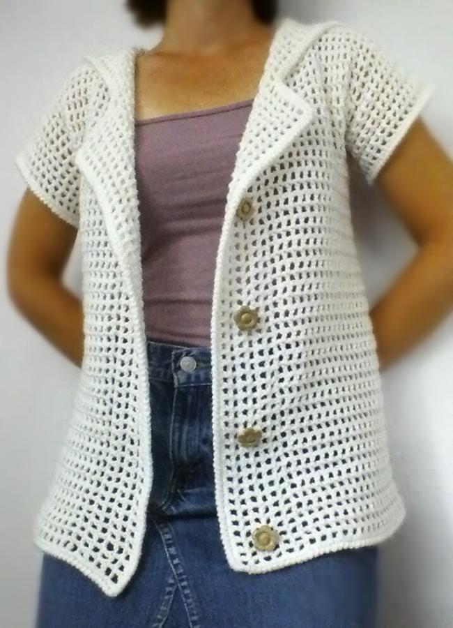 White Mesh Hooded Cardigan - Crochet creation by vikthehook ...