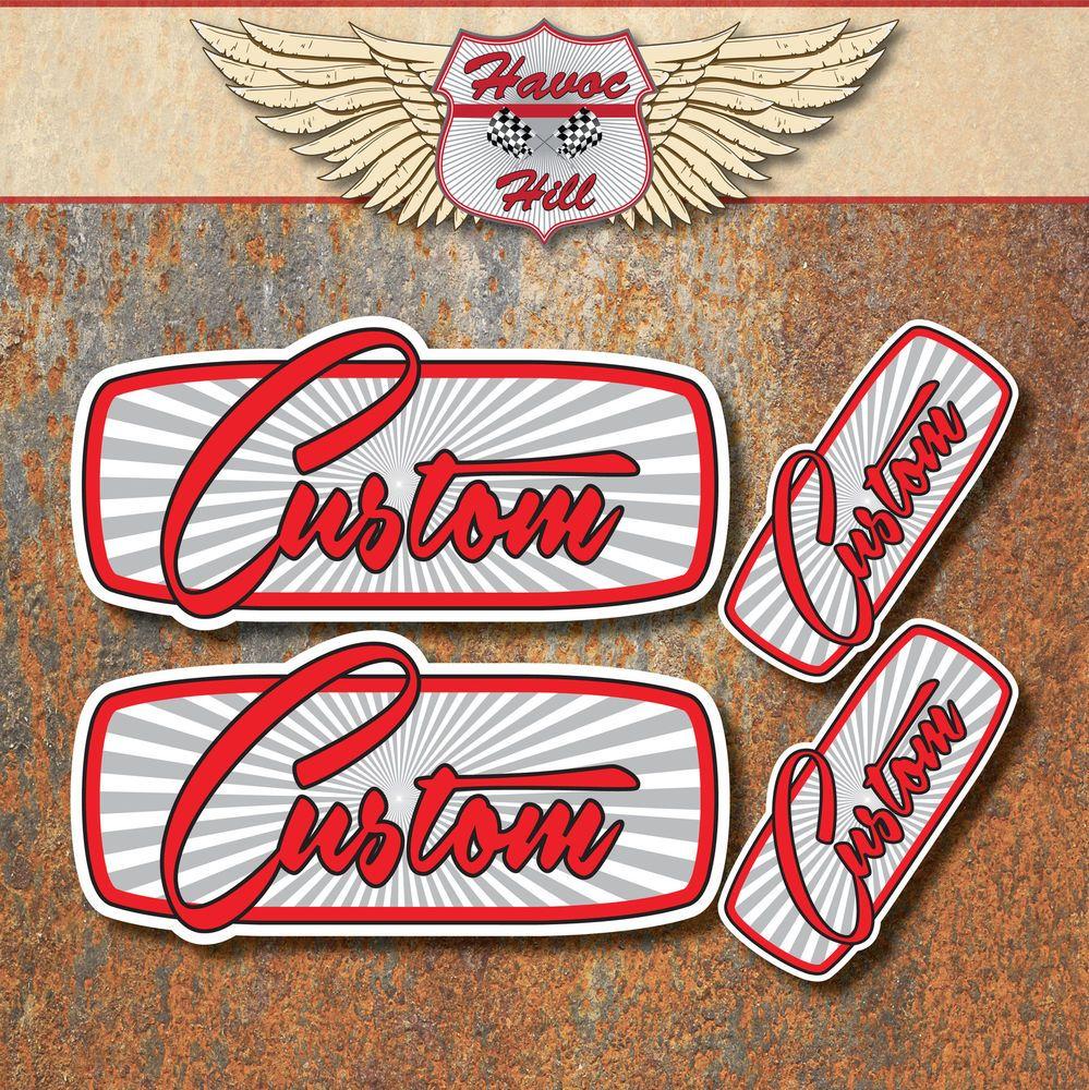 Custom sticker set car hot rat rod motorbike bobber chopper cafe racer decals gr