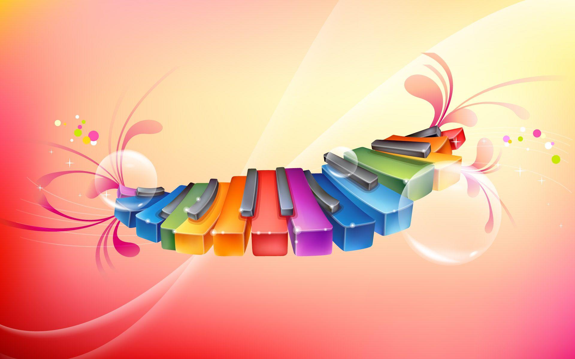 Colorful Piano Creative Graphics Creative Desktop Wallpaper Colorful Backgrounds
