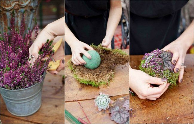 erika heidekraut herbst deko selber machen blumenschaum kugel moos deko diy flower. Black Bedroom Furniture Sets. Home Design Ideas