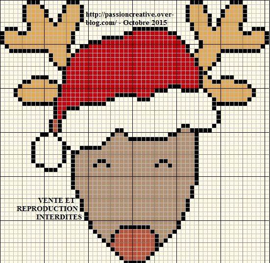 grille gratuite point de croix renne du p re noel portrait le blog de isabelle christmas. Black Bedroom Furniture Sets. Home Design Ideas