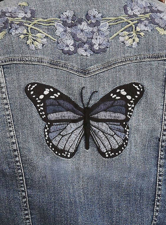 Floral Butterfly Embroidered Denim Jacket