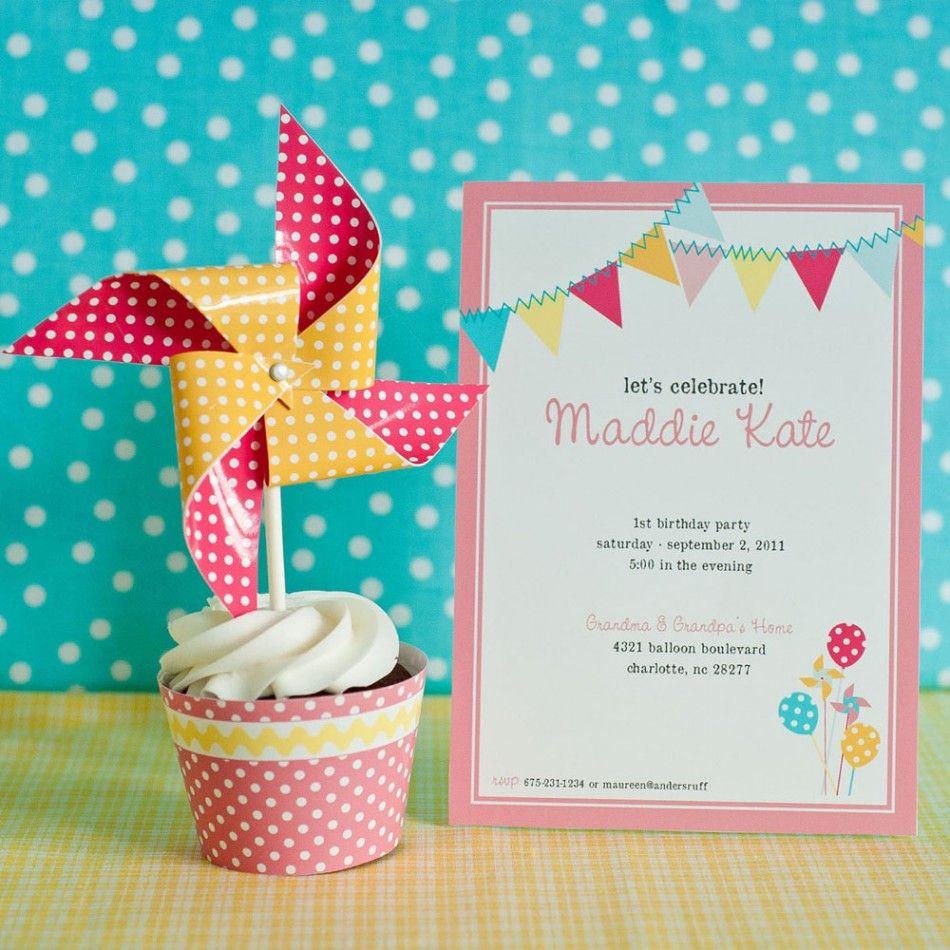 Pinwheels, Pennants and Polka Dots Birthday Party Printable ...