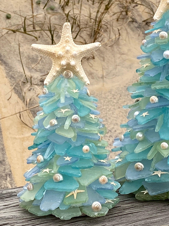 Obx Original Sea Glass Coastal Christmas Tree Smmx17 Sea Glass Crafts Coastal Christmas Decor Coastal Christmas Tree