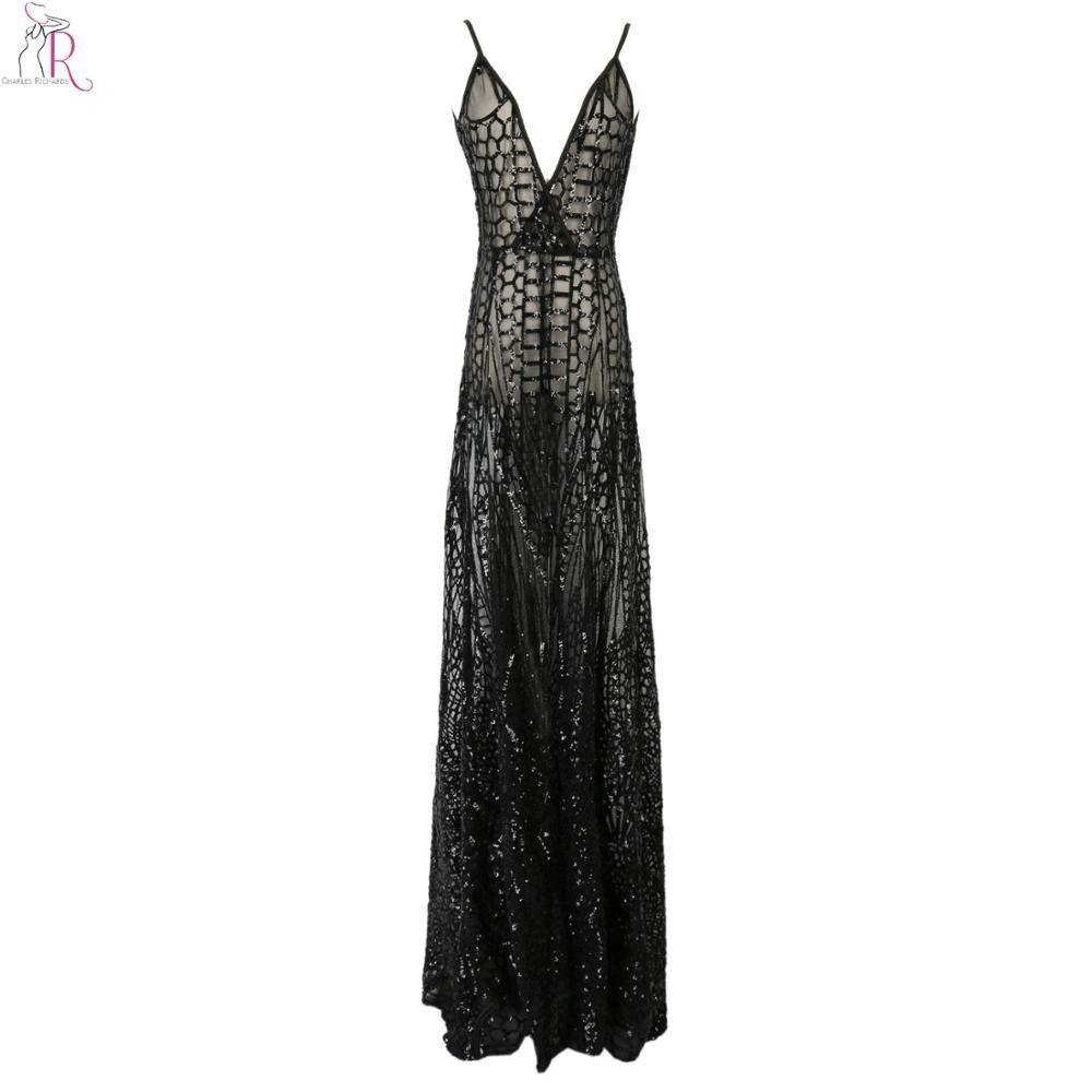 Black Lace Sexy Party Maxi Dress Thigh Split Sleeveless Deep V Neck Spaghetti Strap Backless Vintage Women Summer