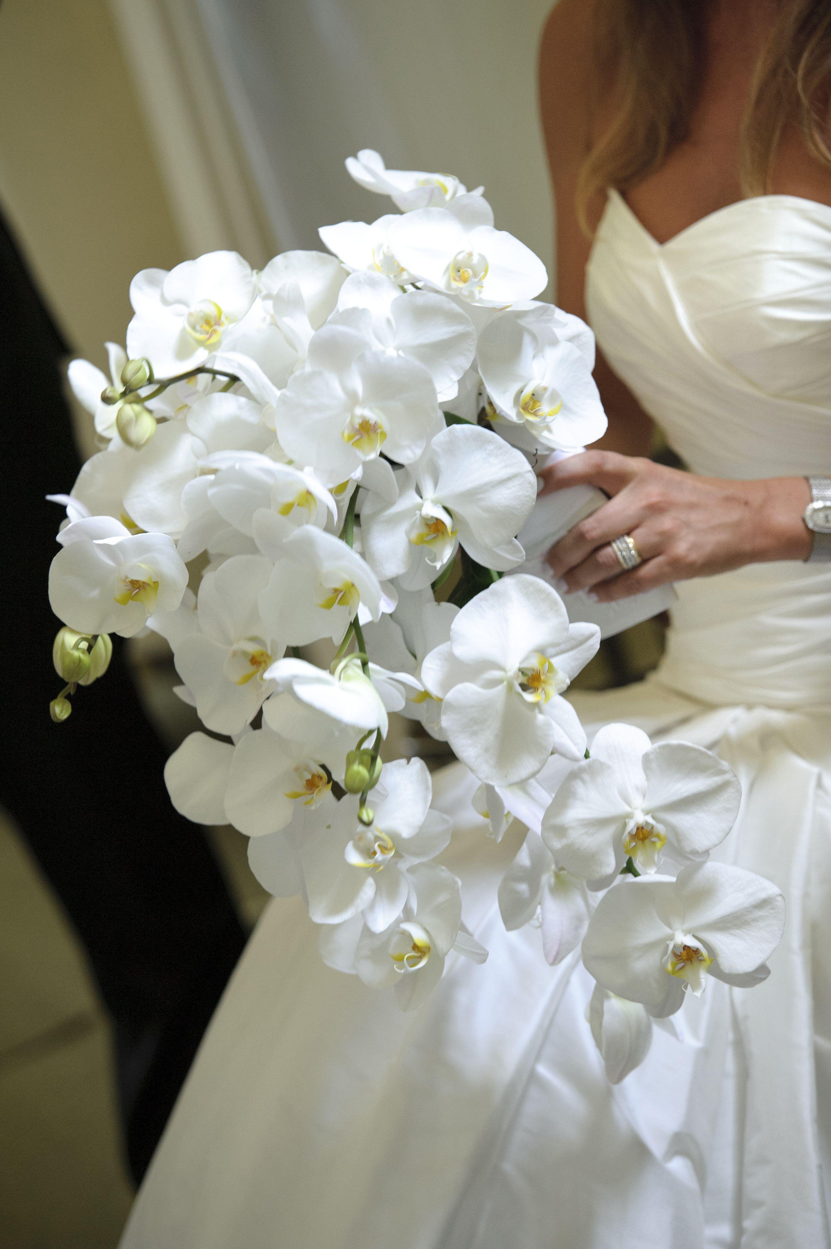A Modern Art Gallery Wedding In Toronto Weddingbells White Orchid Bouquet Orchid Bouquet Wedding White Wedding Bouquets