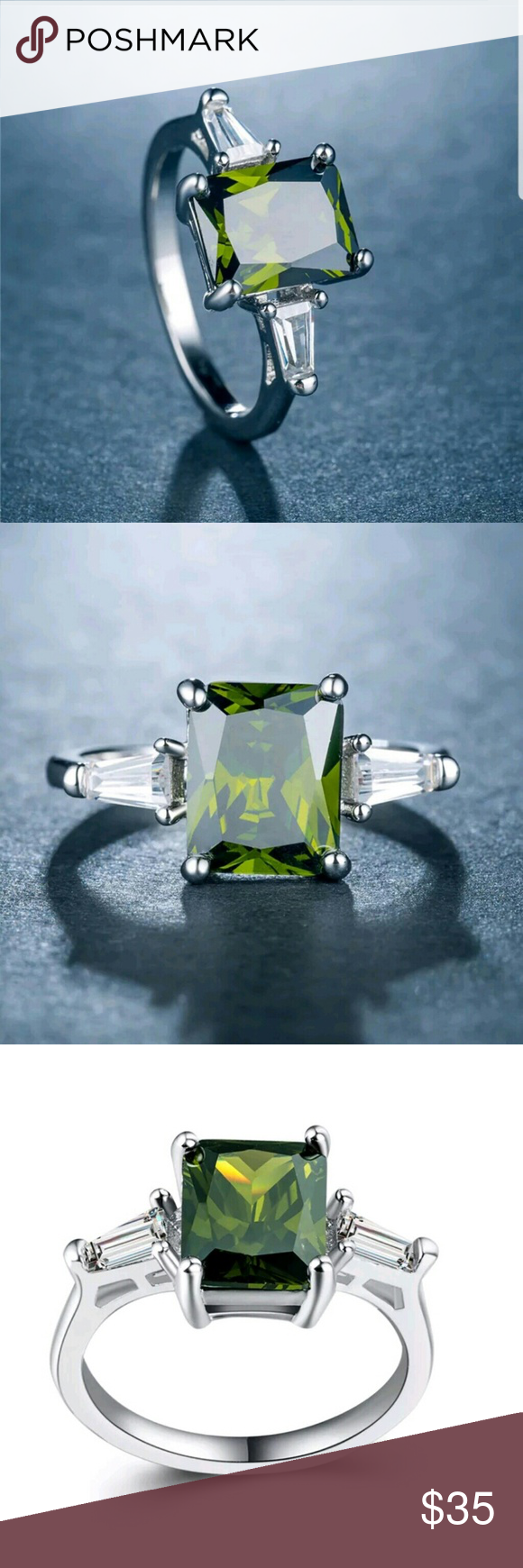 New beuatiful staped s925 peridot ring Brand new staped sterling silver princess cut peridot ring in various sizes huitain Jewelry Rings #myposhpicks