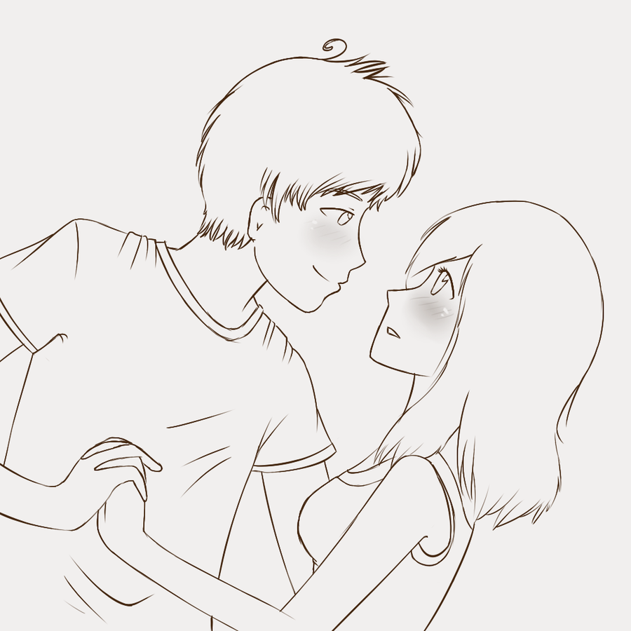 Anime Couple With Images Sketches Couple Sketch Cute Love