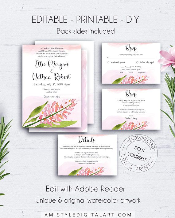 Wedding Invitation Suite Template, Elegant Chic Wedding Set ...