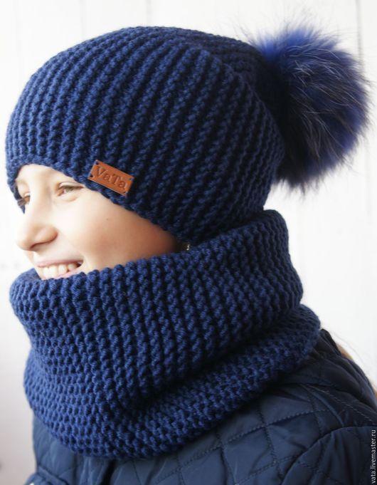 шапка и снуд крупной вязки вязаный комплект ручной работы шапка