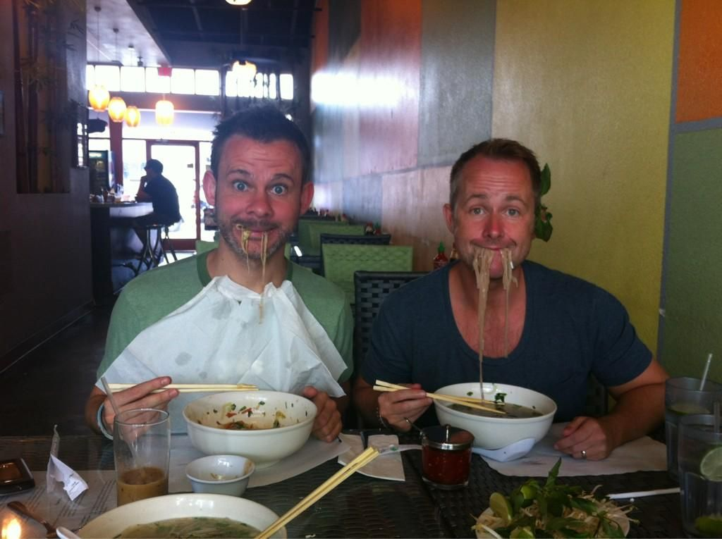 """""""Dominic Monaghan and Billy Boyd love noodles!!"""" - from Dom's Twitter. #LOTR"""