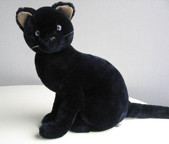 vintage black cat stuffed animal plush toy with by retrogroovie soft animals pinterest. Black Bedroom Furniture Sets. Home Design Ideas