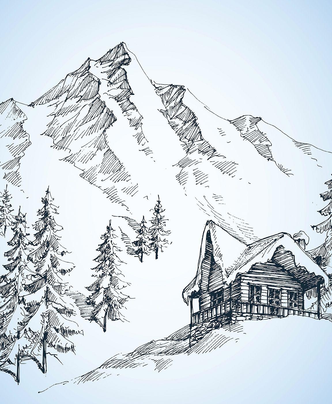 Mountain Landscape Sketch Landscape Pencil Drawings Mountain Sketch