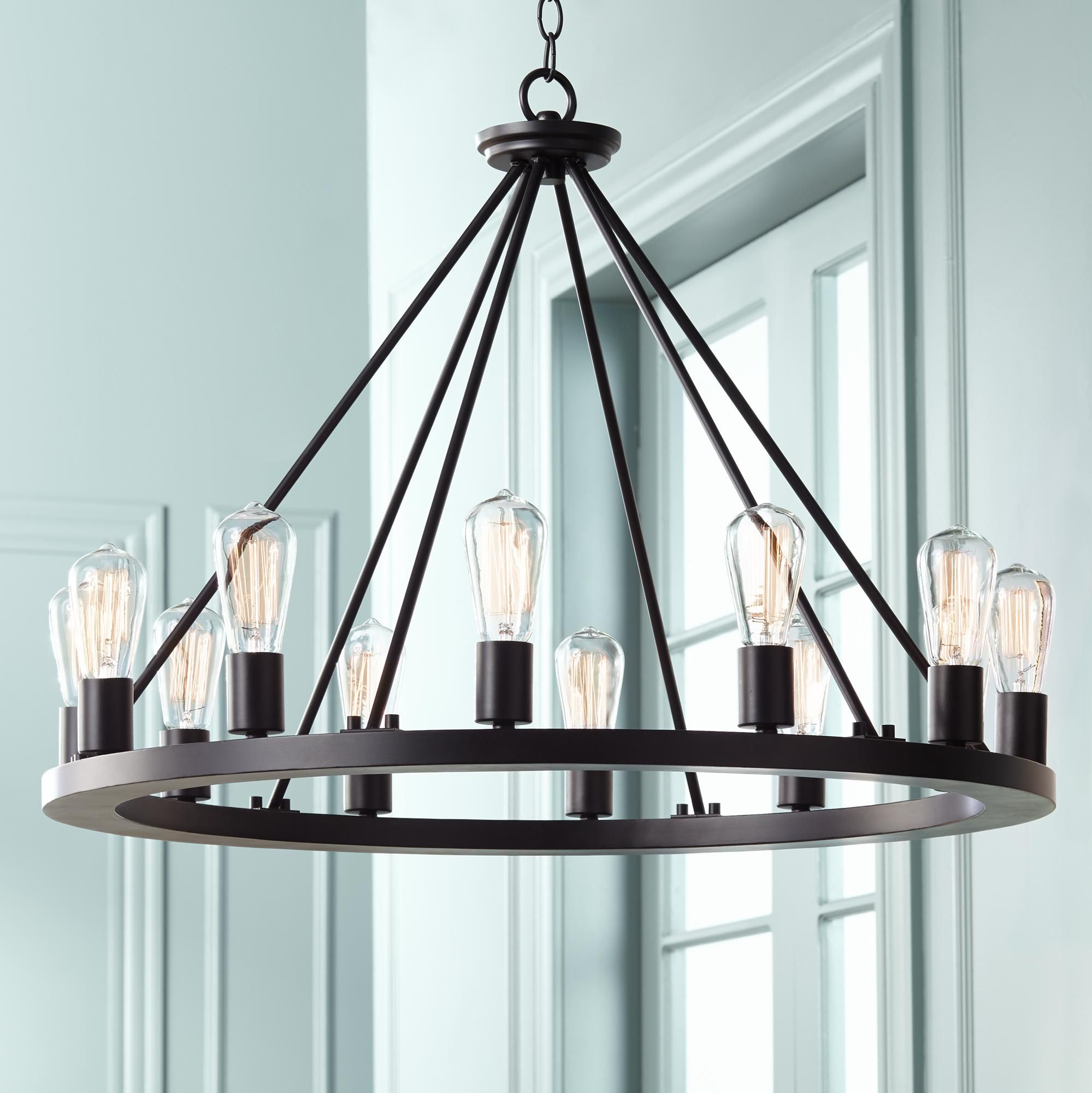 "Lacey 28"" Wide Round Black Chandelier - #W7307"