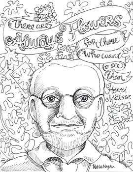 Photo of Henri Matisse quote color page