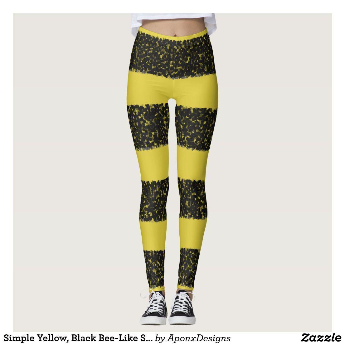 Simple Yellow, Black Bee-Like Stripes Leggings | Zazzle.com #stripedleggings