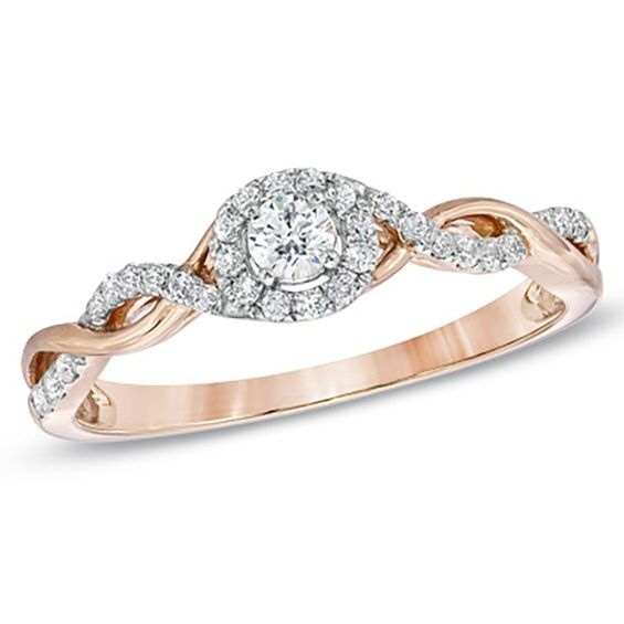 1 4 Ct T W Diamond Entwined Promise Ring In 10k Rose