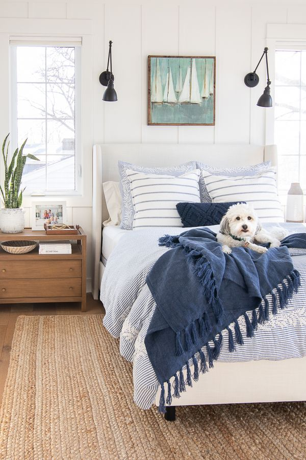 White and Blue Lake House Master Bedroom images