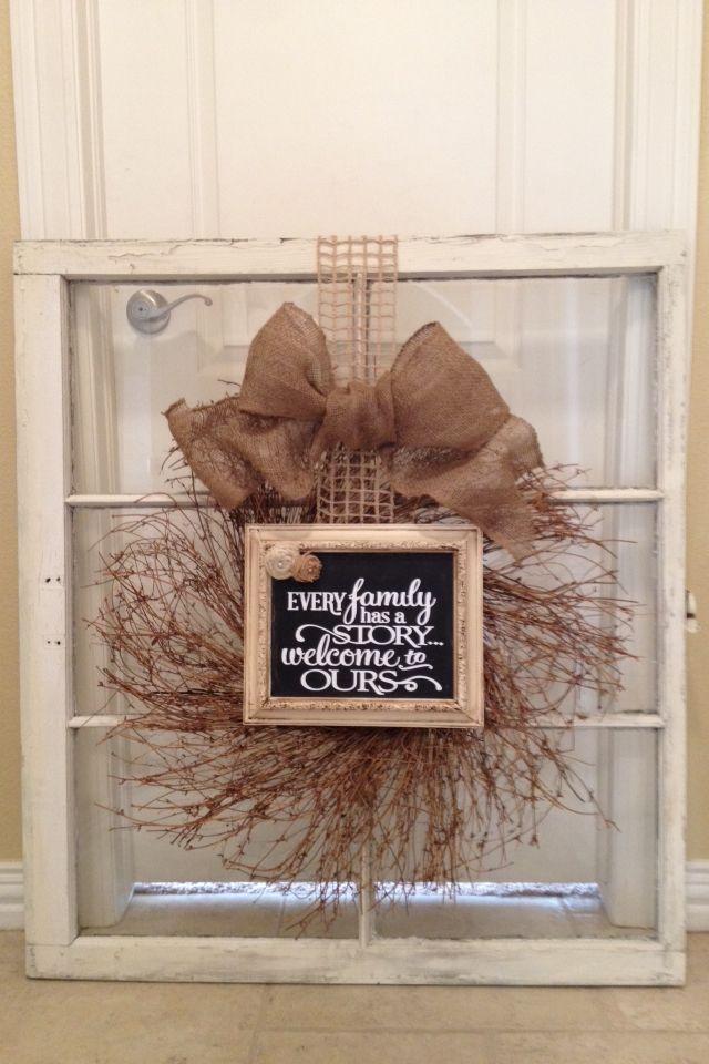 pin by heather plattner on decorating pinterest wreaths old window frames and decor. Black Bedroom Furniture Sets. Home Design Ideas