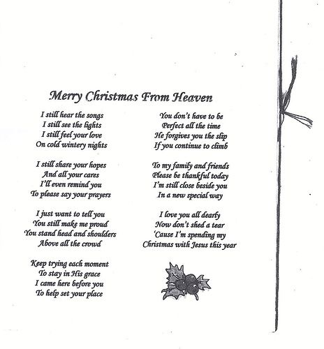 Merry Christmas From Heaven Poem Printable.Merry Christmas From Heaven Poems And Things Heaven