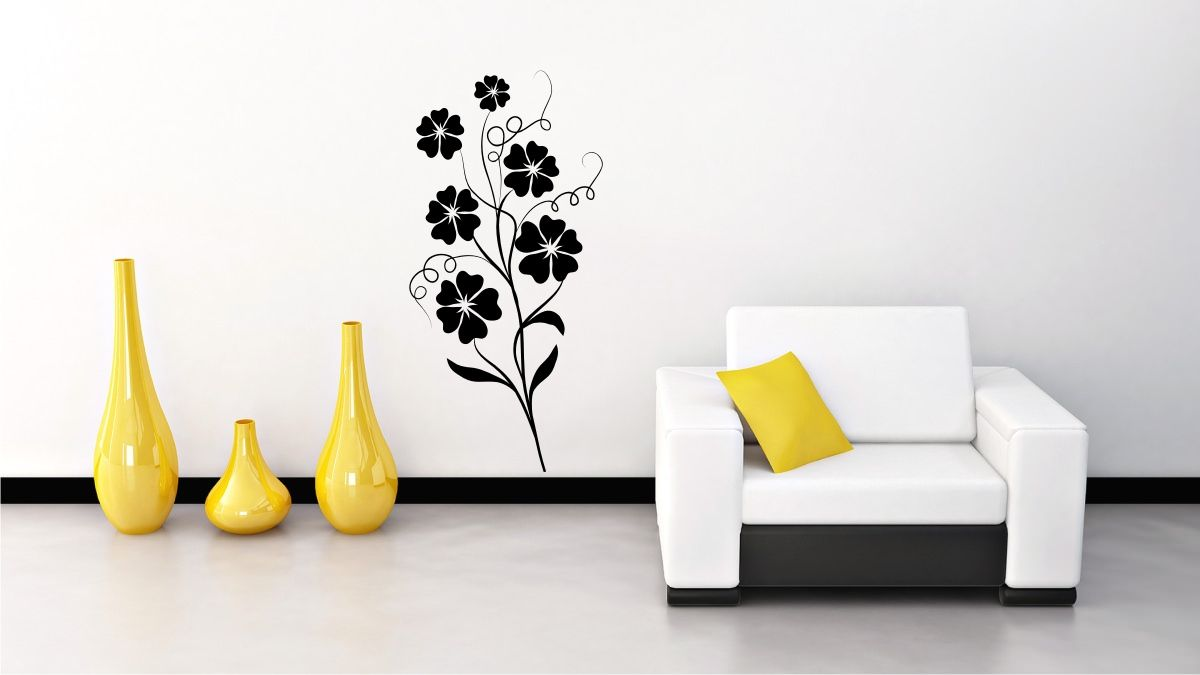 StickONmania com   Vinyl Wall Decals   Plant Vine with Flowers 1 Sticker is part of Living Room Plants Vines - StickONmania com offers original vinyl wall decal stickers to decorate your home  Thousands of unique original wall art designs to choose from