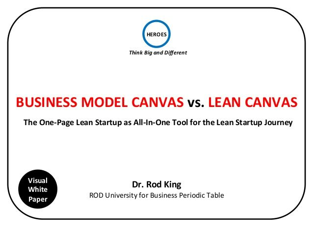 Business Model Canvas Vs Lean Canvas Vs OnePage Lean Startup