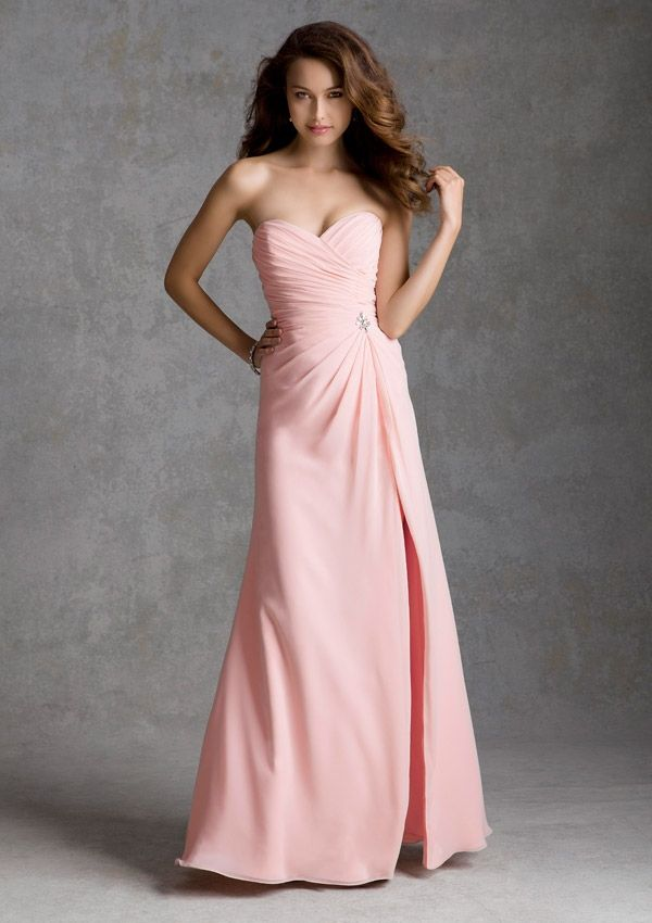 Bridesmaid Dress by Mori Lee Style 692 in Chiffon with Beaded Brooch ...