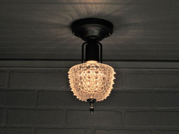 Vintage Art Deco Petite Semi Flush Mount Ceiling Light Fixture Hobnail Crystal Glass Shade 6