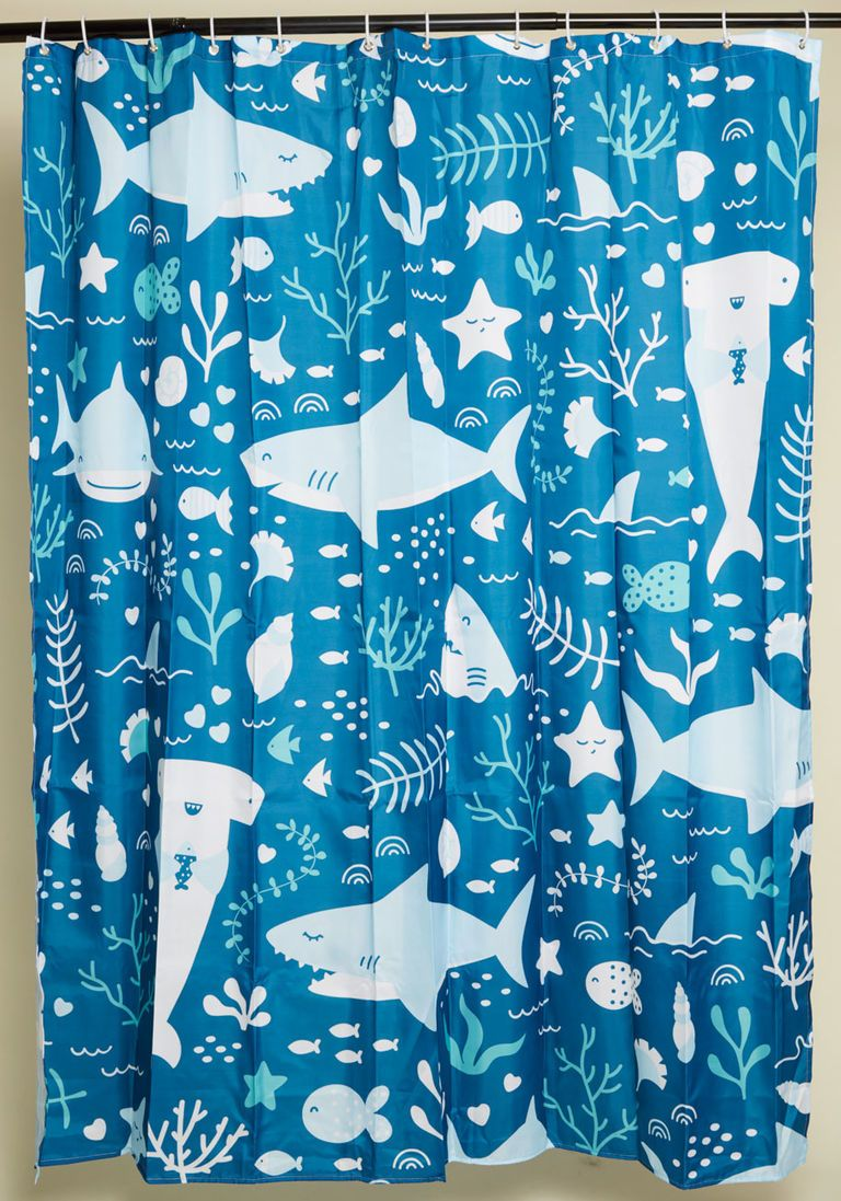 Shark Wit Shower Curtain Blue Shower Curtains Pink Bathroom