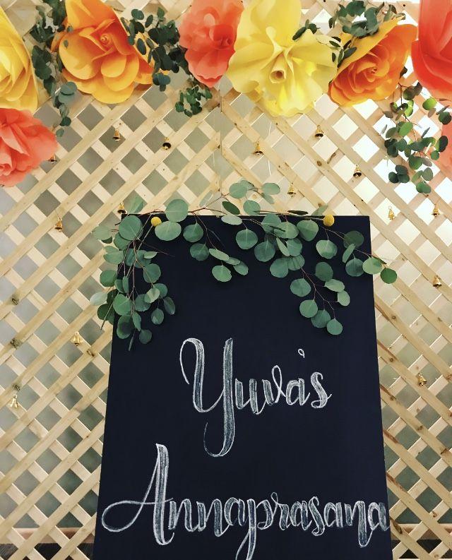 Custom backdrop & signage for Yuva's Annaprasana