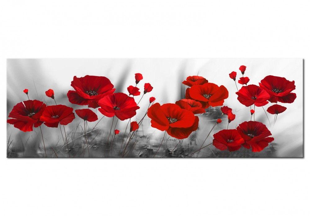 Leinwandbild Romantic Poppies Mohn Malerei Blumen Gemalde Mohnblume