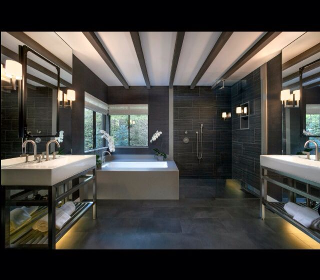 Master class master bathroom in Montecito California Home by designer, developer Ken Harvey