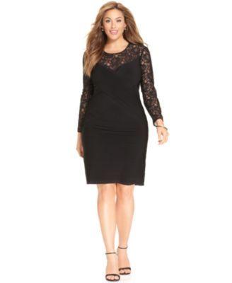 Calvin Klein Plus Size Long-Sleeve Lace Sheath | macys.com