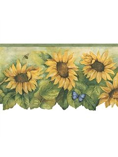 Bg71361dc Border Fresh Kitchens 4 Sunflower Wallpaper Wallpaper Border Butterfly Wallpaper Border