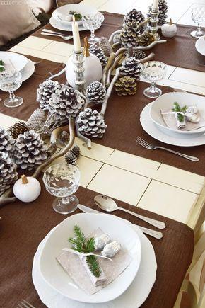 Winterlich Festliche Tischdeko mit Naturmaterialien #dekoweihnachtentisch