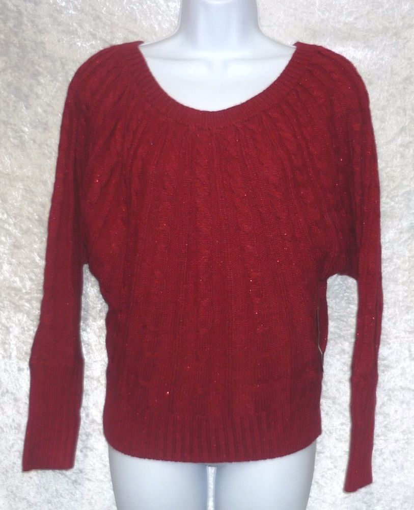 Details about a n a Womens Sweater Cable Knit Long Sleeve Solid ...