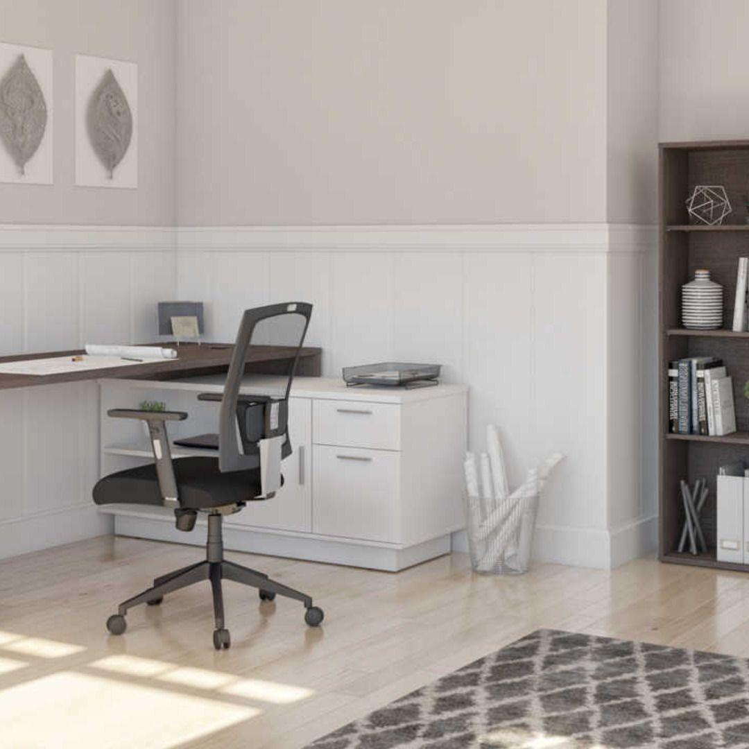2 Piece Set Including 1 L Shaped Desk And 1 Storage Unit With 8 Cubbies Ensemble De 2 Articles Incluant 1 Bureau En L Et 1 Un In 2020 Home Furniture Office Furniture