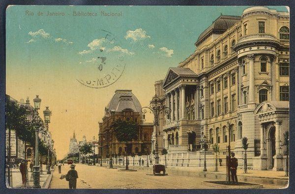 Rio De Janeiro Biblioteca Nacional Cartao Postal Antigo