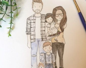 Simple Faces Family Drawing Family Drawing Illustration Custom Illustration